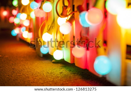 Background series : Colorful light bulbs - stock photo