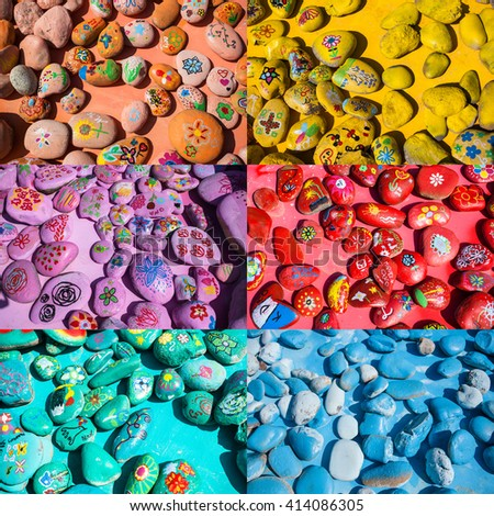 Background Set of Colorful Stones