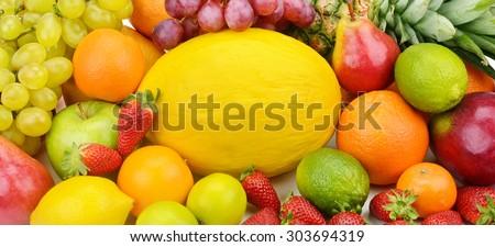 background set of fruits - stock photo