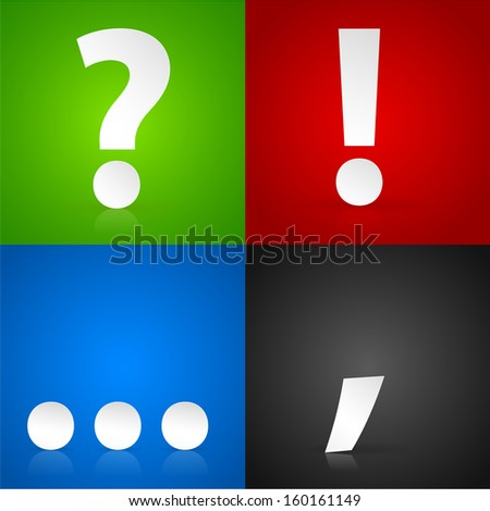 Background set, Punctuation marks. Question mark, exclamation mark, comma, - stock photo
