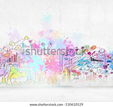 Background sketch image with buildings and urban scenes - stock photo