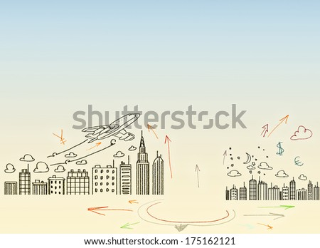 Background sketch image with drawings. Travel concept - stock photo