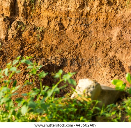 Background slide from floor landslides, erosion of water and grass in the foreground blur wilderness. - stock photo