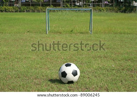 Background: Soccer ball and small goal on the field