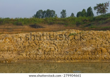 Background soil surface water flows through coastal erosion for a long time seen as a layer. - stock photo