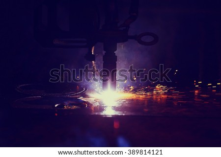 background sparks from welding - stock photo