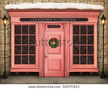 Background storefront countdown to Christmas - stock photo