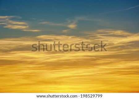Background - sunrise / sunset with clouds - stock photo