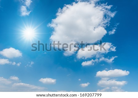 background tesxture of beautiful blue sky with clouds and the sun