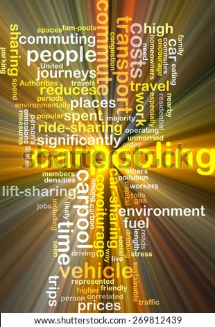Background text pattern concept wordcloud illustration of carpooling glowing light - stock photo