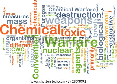 Background text pattern concept wordcloud illustration of chemical warfare