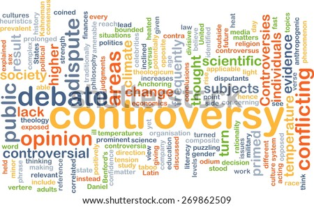 Background text pattern concept wordcloud illustration of controversy - stock photo