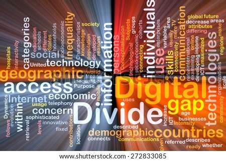 Background text pattern concept wordcloud illustration of digital divide glowing light - stock photo