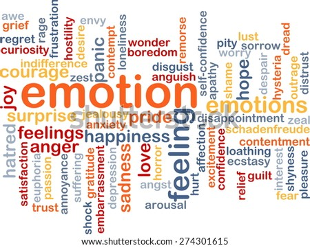 Background text pattern concept wordcloud illustration of emotion feelings - stock photo