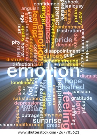 Background text pattern concept wordcloud illustration of emotion feelings glowing light - stock photo