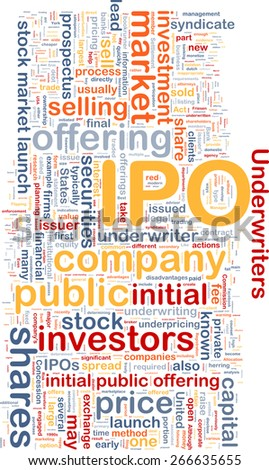 Background text pattern concept wordcloud illustration of IPO initial public offering - stock photo