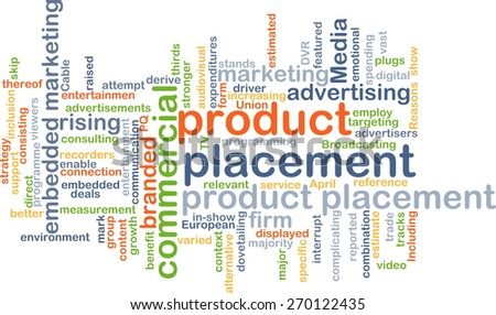 Background text pattern concept wordcloud illustration of product placement - stock photo