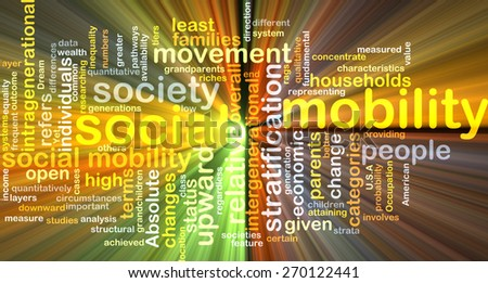 Background text pattern concept wordcloud illustration of social mobility glowing light - stock photo