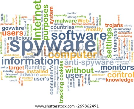 Background text pattern concept wordcloud illustration of spyware software - stock photo