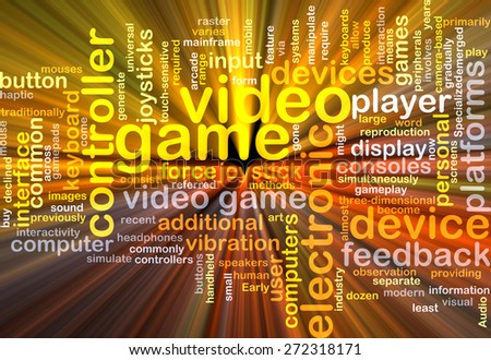 Background text pattern concept wordcloud illustration of video game glowing light