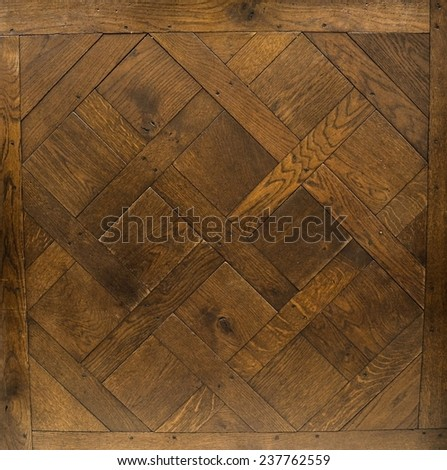 Background, texture. Antique modular flooring. A Dark Figure Versailles. The parquet. - stock photo
