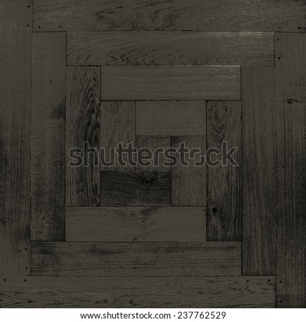 Background, texture. Antique modular flooring, a parody of oak wood. The figure well. Black-and-white.