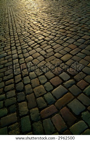 background texture berlin cobblestone road - stock photo