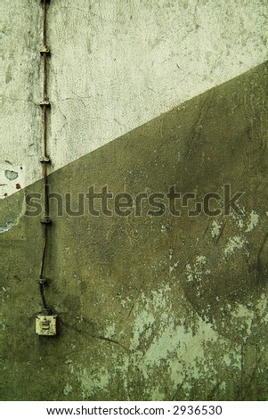 background texture grungy wall with light switch - stock photo