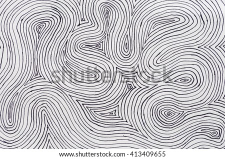 background texture of black ink on white paper with many concentric curved lines - stock photo