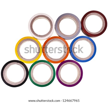 background texture of colored circles roll of adhesive tape isolated on white background - stock photo