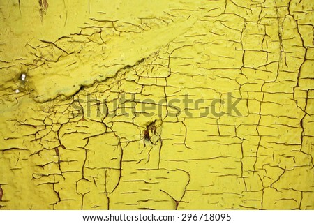 Background texture of cracked paint on wooden surface.