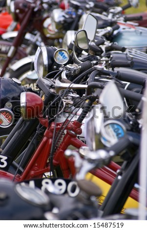 background/texture of modern and vintage motorbikes - stock photo