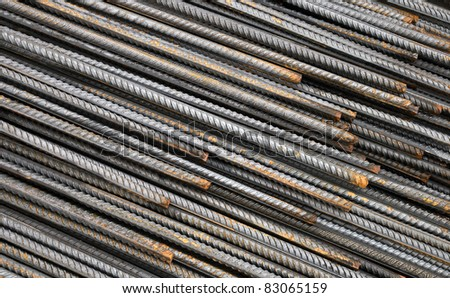 Background texture of steel rods used in construction to reinforce concrete - stock photo