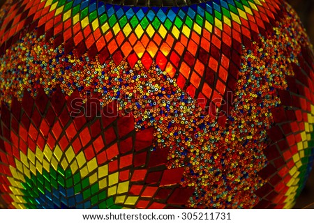 Background texture of traditional multicolored turkish lamp hanging at the Grand Bazaar in Istanbul, Turkey - stock photo
