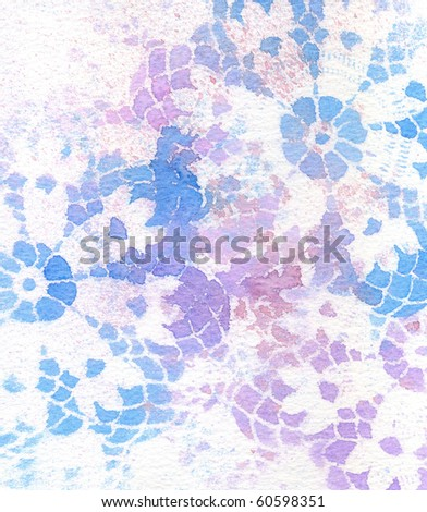 Background texture of vintage lace in blues and purple. - stock photo