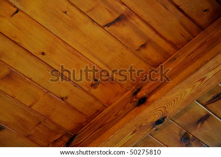 background texture of wooden boards ceiling - stock photo