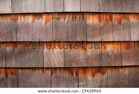 Background texture of wooden cedar shingles - stock photo