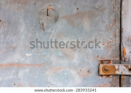Background texture with old galvanized metal, rusts, scrapes, scratches, cracks, stone and woods. Modern vintage style.