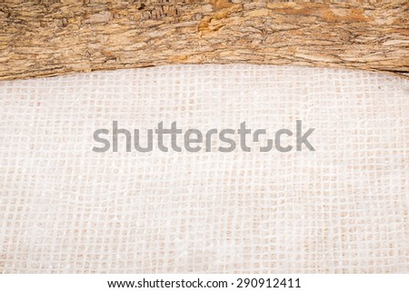 Background Textures of Tree Branch and White Linen Paper - stock photo