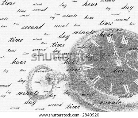 Background. The background represents a white field on which it is a little dim it is possible to see ancient watch and set of the words symbolizing current of time and its intervals (pieces). - stock photo