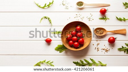 background, top view, banner. Diet or vegetarian food concept. space for text - stock photo