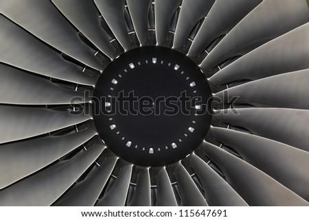 background turbine blades jet engine aircraft closeup - stock photo