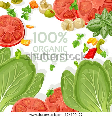 Background vegetarian fresh organic natural food - stock photo