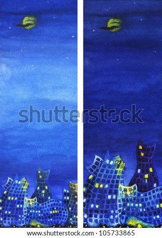 background vertical images of night city with cats and plenty of space for text - stock photo