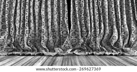 Background vintage curtains and wood floor - stock photo
