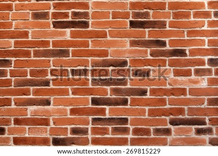 Background wall of red brick lined horizontal rows - stock photo