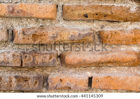 Background wall texture old brown brick wall .