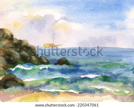 Background watercolor sea