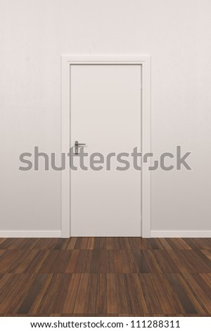 Background White Wall with parquet floor and white door - stock photo