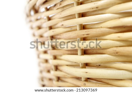Background wicker basket photographed by close